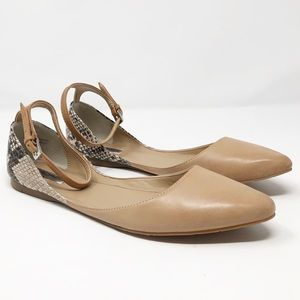 Halogen Snake and Tan Ankle Strap Flat NWT